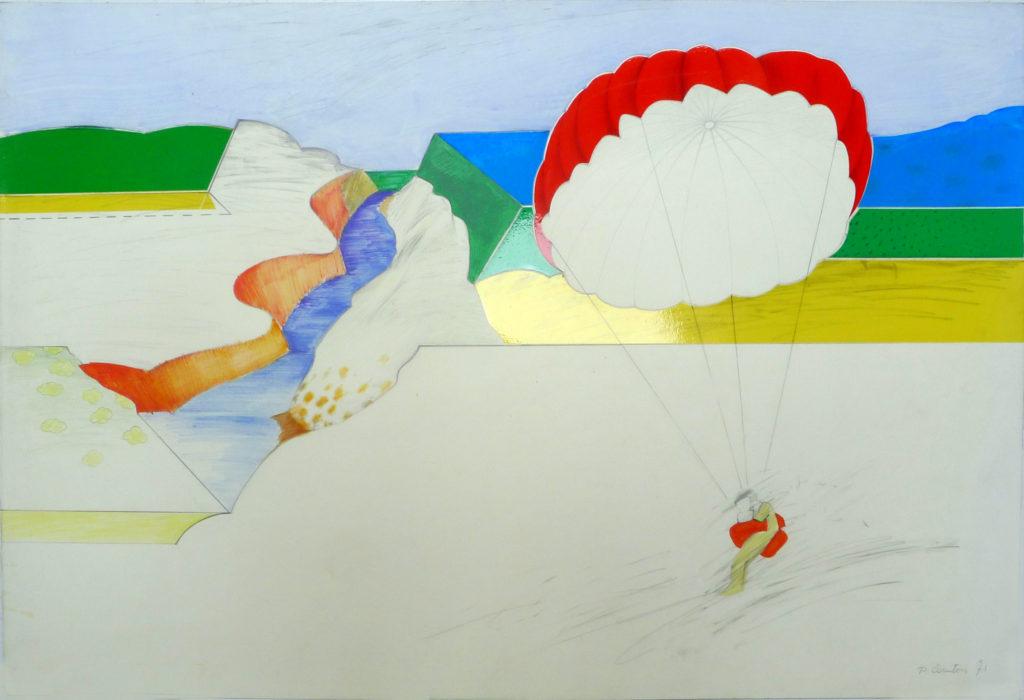 Pierre Courtois .Etude de paysage · technique mixte sur papier · 53 x 73 cm · 1971