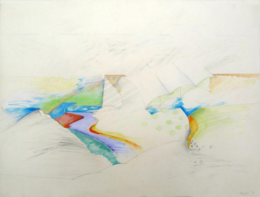 """Pierre Courtois . """"Route vers le tendu"""" · technique mixte sur papier · 53 x 73 cm · 1971"""