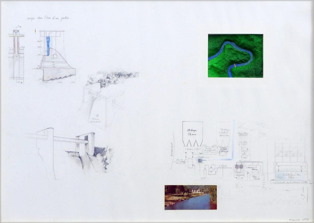 """Pierre Courtois . """"Hérou, d'un pertuis à l'autre"""" . Technique mixte . 60 x 84 cm . 1973"""
