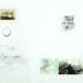 """Pierre Courtois . """"Trois chats sauvages"""" . Dessin, photos, carte et balles . 60 x 84 cm . 1973"""