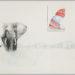 """Pierre Courtois · """" D'une chaine à l'autre"""" · crayon et aquarelle · 69 x 100 cm · 1974"""