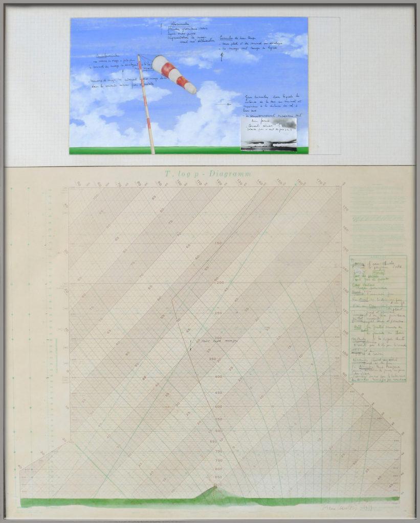 """Pierre Courtois · """"T, Log p - Diagramm"""" · Technique mixte · 74 x 51 cm · 1977"""