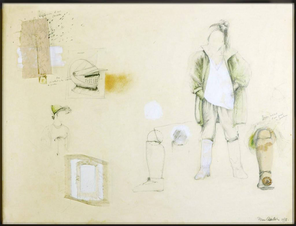 """Pierre Courtois · """"Articulation"""" · Dessin/Montage .Technique mixte · 58 x 74 cm · 1978"""