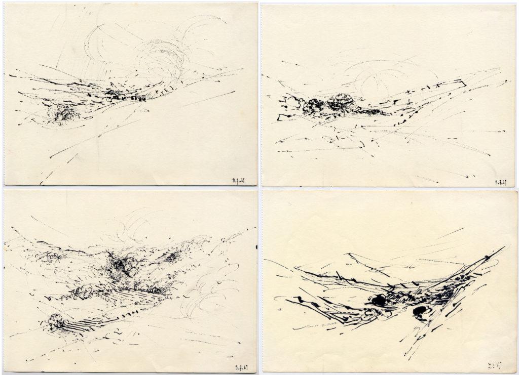 Pierre Courtois . 4 dessins sans titre · Encre sur papier · 13 x 19 cm · 1969