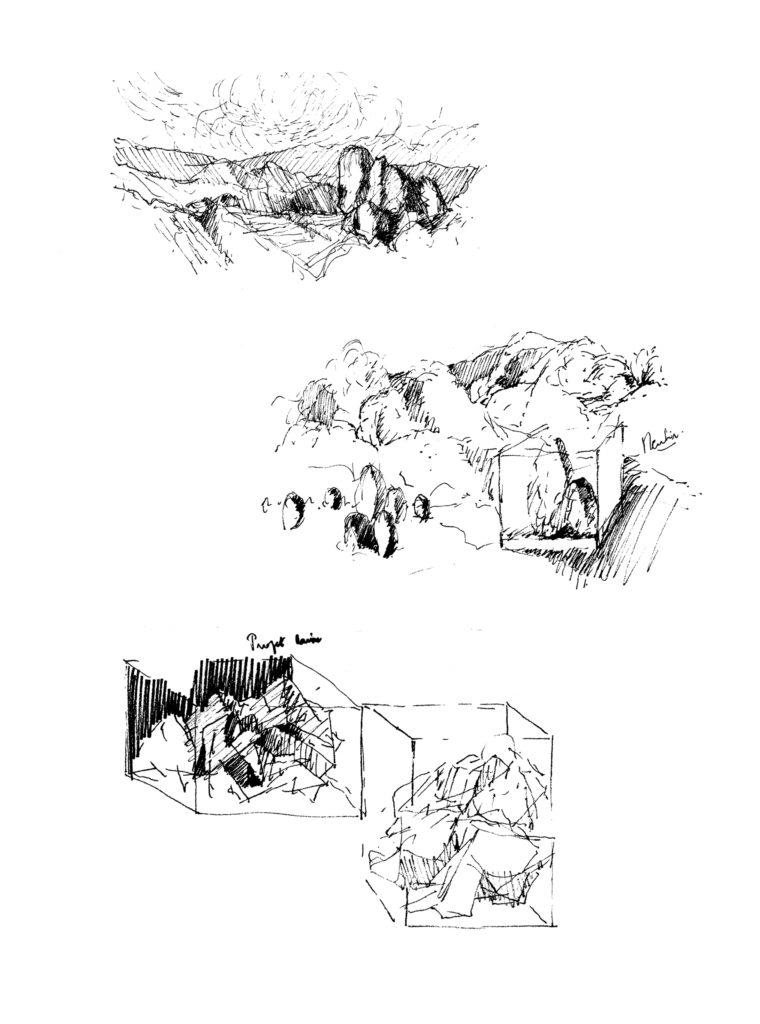 Pierre Courtois . dessins d' éléments en cage · Encre sur papier · 29 x 21 cm · 1970