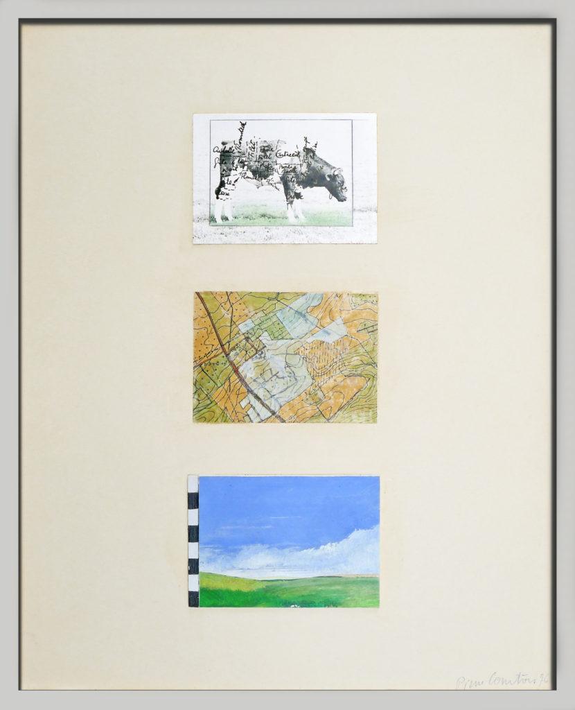 """Pierre Courtois . """"Morcellement"""" . Technique mixte . 43 x 33 cm . 1976"""