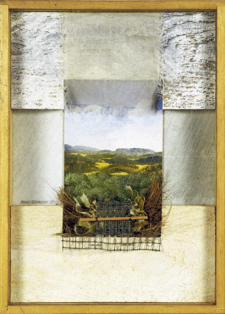 """Pierre Courtois · """"Jalon dans la nature"""", technique mixte · 30 x 22 x 4 · 1983"""