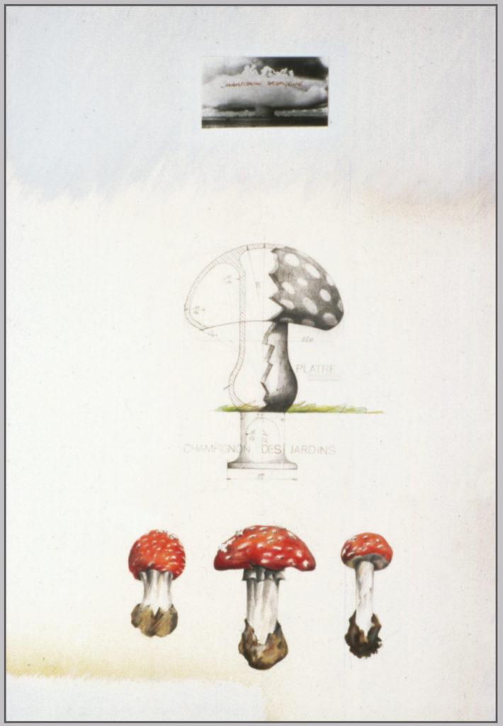 """Pierre Courtois · """"Buzenol"""" · Ensemble de techniques mixtes · 120 x 230 x 24 cm · Détail .1981"""