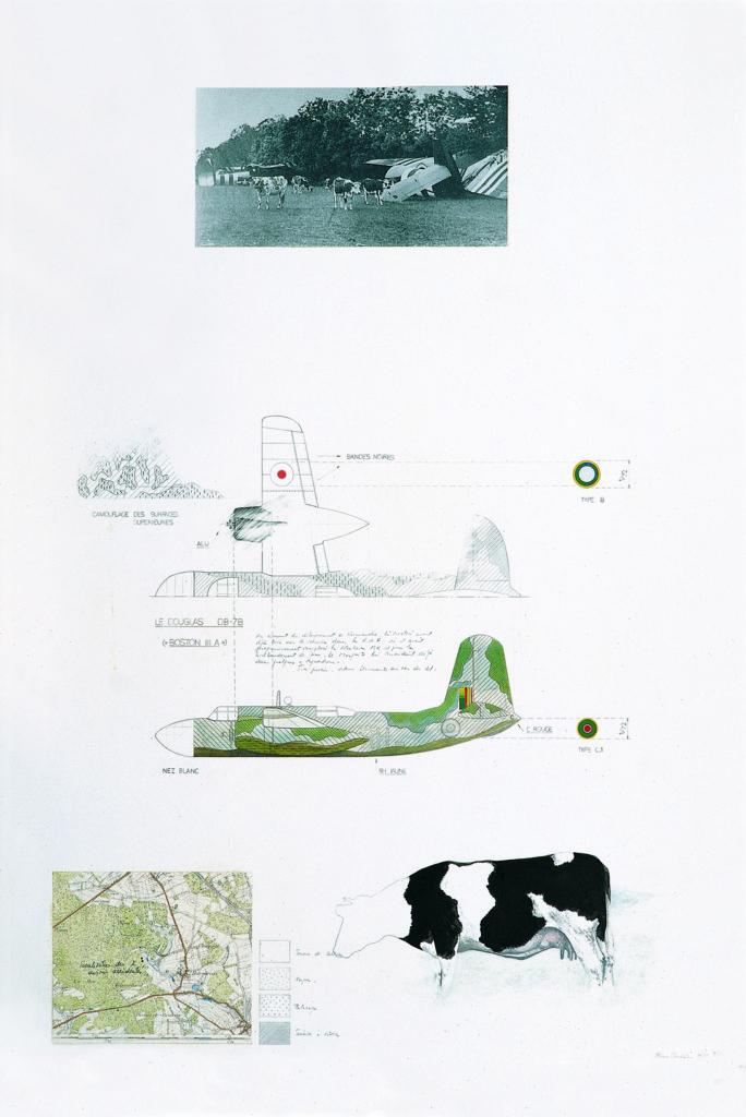 """Pierre Courtois · """"Souvenir de deux Douglas"""" · Technique mixte · 100 x 69 cm · 1975"""