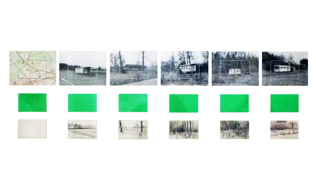 """Pierre Courtois · """"Grande suite de carrés verts"""" · Technique mixte · 100 x 50 cm · 1975"""