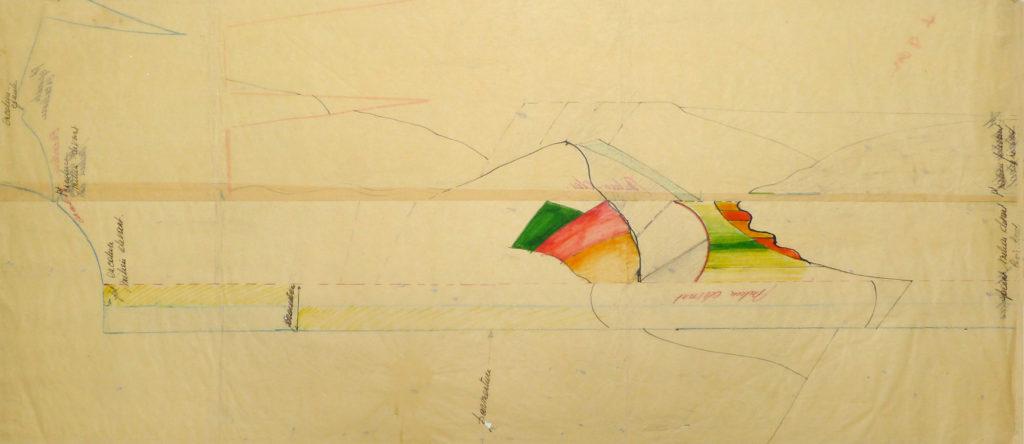"""Pierre Courtois . """"Paysage de l' Ourthe"""" . technique mixte sur papier couture réutilisé . 1970"""