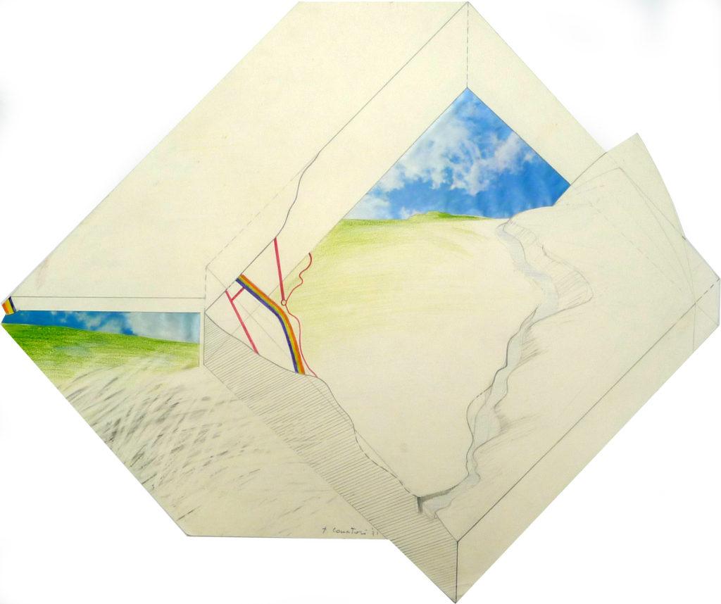Pierre Courtois . Etude de paysage · technique mixte sur papier découpé · 1971