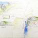 Pierre Courtois . Paysage et intégration de boîtes · crayons aquarelle sur papier · 53 x 73 cm · 1971