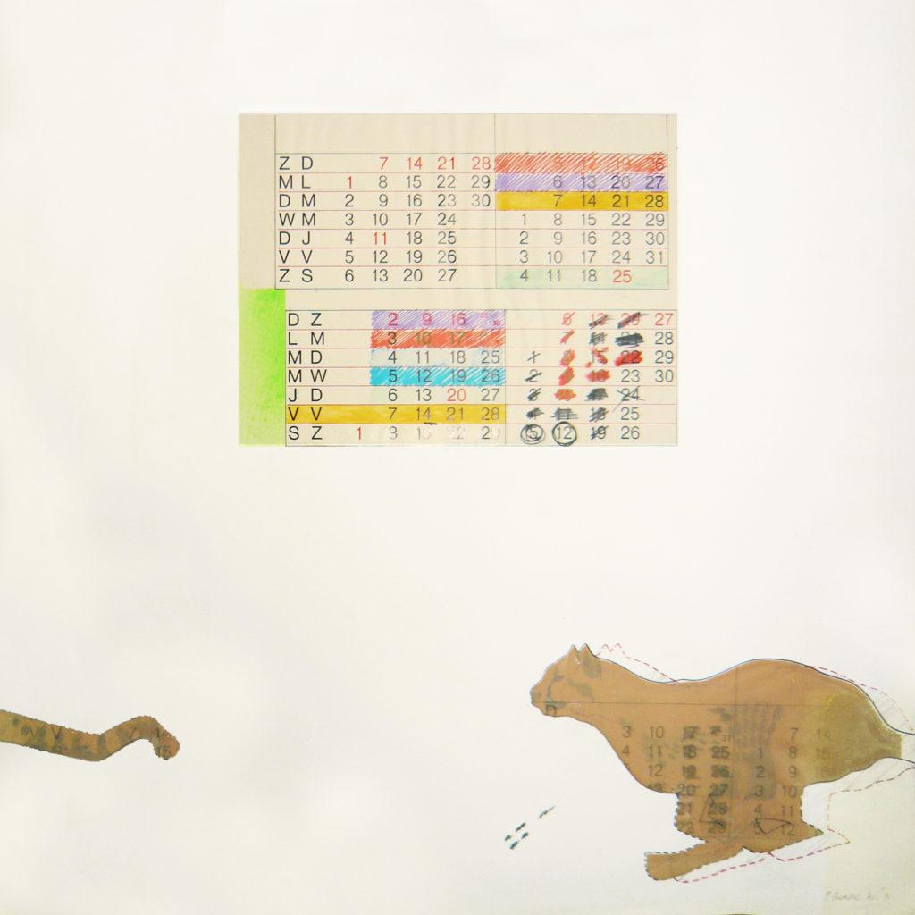 Pierre Courtois · Course après le temps · Technique mixte, 73,5 x 57 cm· 1972