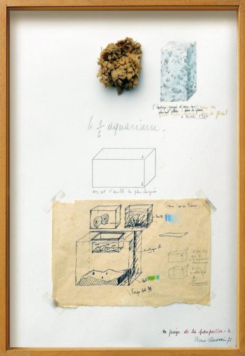 """Pierre Courtois · """"Les pièges de la perspective 4"""" · Technique mixte · 45 x 31 cm · 1978"""