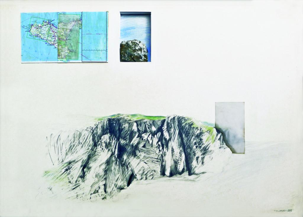 Pierre Courtois - Rocher brun et blanc sur la falaise - Montage – dessin, carte et pierre - 60 x 84 cm - 1973