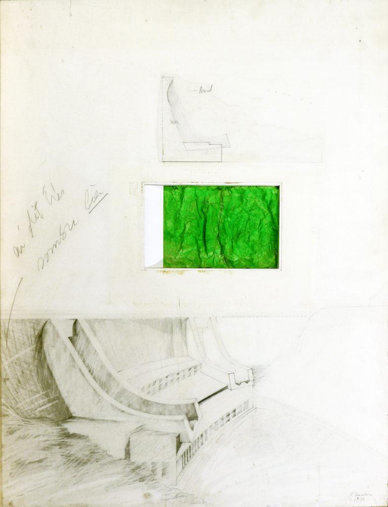 Pierre Courtois · Projet barrage · Montage technique mixte, 84 x 60 cm · 1973