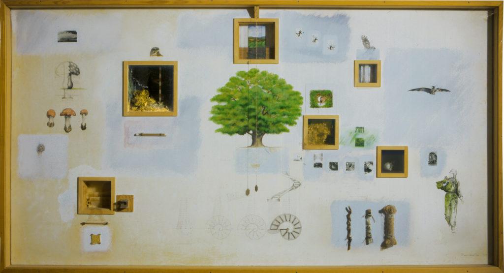 Pierre Courtois - Buzenol - Ensemble de techniques mixtes - 120 x 230 x 24 cm . 1981